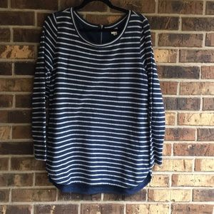 Long sleeved navy and white striped sweater dress